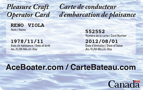 AceBoater.com Pleasure Craft Operator Card